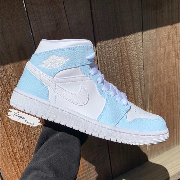 Custom Light Blue Air Jordan 1 Mids